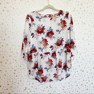 White and Floral Peplum Blouse Top